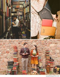 Classic Style: Brilliantly Engaged Bookworms. It would be so cool to do engagement session at Mr. K's (the local bookstore I grew up going to)