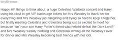 Molly weasley being a fan girl is literally all my dreams come true