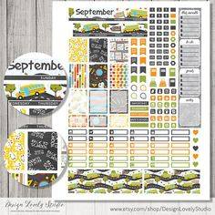 Back to School September monthly planner stickers, printable planner kit including cut files for Silhouette and Cricut