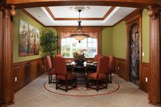 Stunning dining room with wine cooler and wine closet.