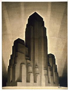 "Hugh Ferriss, Study for ""Maximum Mass, permitted by the 1916 New York Zoning Law, Stage 4"", 1922. Drawing. This is an early proposal for the set back skyscraper form that was to characterize many skyscrapers built from the mid-1920s to the 1950s. Via Cooper Hewitt"