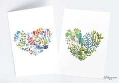Cacti succulent heart watercolor notecard, Flower bird heart watercolor card, Watercolor painting greetings love notecard, Nature green card by thevysherbarium on Etsy https://www.etsy.com/listing/220943287/cacti-succulent-heart-watercolor