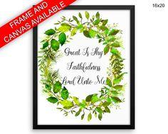 Faithfulness Wall Art Framed Faithfulness Canvas Print Faithfulness Framed Wall Art Faithfulness Poster Faithfulness Floral Wreath Art #printed #physical