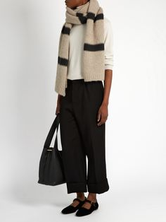 Striped wool and cashmere-blend scarf | Brunello Cucinelli