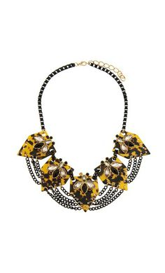 Tom Cat - Jewelled Bumble Bee Chain Web Necklace - Adorne