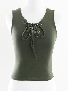 Tautmun - BERI LACE UP TANK - OLIVE, $14.99 (http://www.tautmun.com/beri-lace-up-tank-olive/)
