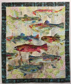 Flaura Fiberworks Pattern by Laura Heine ' Making Fish' Applique Collage | eBay Fish Quilt Pattern, Patchwork Quilt Patterns, Crazy Patchwork, Applique Quilts, Patchwork Fabric, Patchwork Designs, Quilting Fabric, Quilting Projects, Quilting Designs