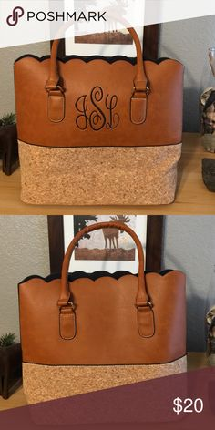 Scalloped edge brown & cork purse, JLS monogram NWOT! Purchased from Jane.com. Faux leather and cork. It's your lucky day if your initials are JLS. Strap drop is 7 inches. Bags Totes