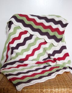 Crochet cotton ripple baby blanket in cream, mi... - Folksy