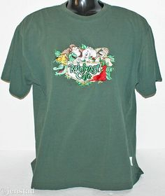 RAINFOREST CAFE GREEN CALIFORNIA SHIRT EMBROIDERY TSHIRT MEN LARGE OR WOMEN USED #RainforestCafe