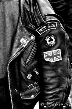 Leather jacket, UK, Moto Guzzi, rocker, cafe
