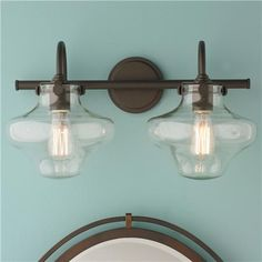 NICE BATHROOM LIGHTING- (there is more on this site that I like also) - Modern Clear Schoolhouse Globe Vanity - 2 Light