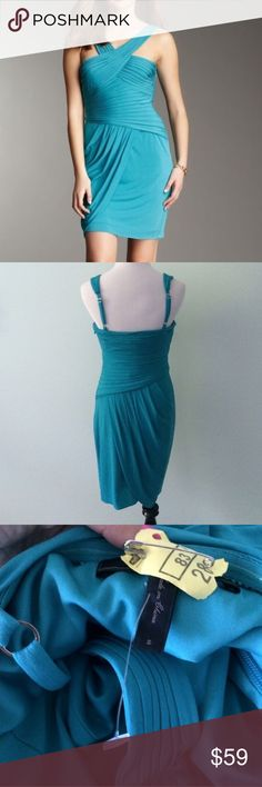 """BCBG MAXAZRIA Helyn Turquoise Cocktail Dress Beautiful dress that's been worn once. Wore this to a wedding in Cancun and received many compliments. Perfect condition and already dry cleaned. Side zip and adjustable back straps. Length 35"""". BCBGMaxAzria Dresses"""