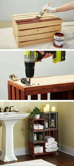 DIY Bathroom Storage Shelves Made From Wooden Crates Turn ordinary wooden crates. - Home Decoration Home Projects, Home Crafts, Diy Home Decor, Pallet Projects, Craft Projects, Diy Crafts, Decor Crafts, Bathroom Storage Shelves, Bathroom Organization