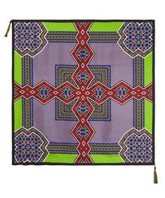 Green Geometric Print Silk Scarf, #Etro #LibertyScarves