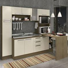 Cozinha Completa Firenze 163 em MDF Teka/Champanhe - Gralar R$842.60