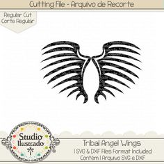 Tribal Angel Wings, Tribal, Angel Wings, Angel, Wings, asas de anjo, asas, anjo, anjos, arcanjo, arcanjos, archangel, archangels, arquivo de recorte, corte regular, regular cut, svg, dxf, png, Studio Ilustrado, Silhouette, cutting file, cutting, cricut, scan n cut.