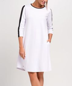 This White Stripe-Sleeve Shift Dress is perfect! #zulilyfinds