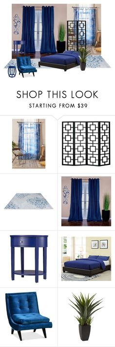 """""""The bedroom is unified with calm dark blue."""" by hiroko-eirai ❤ liked on Polyvore featuring interior, interiors, interior design, home, home decor, interior decorating, Urban Outfitters, Inspire Q, Bungalow 5 and bedroom"""