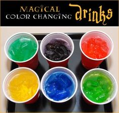 Magical Color Changing Drinks: Drop a few drops of food coloring in plastic cups and let it all dry. Cover the drops with ice, and then when it's time to serve, pour in a clear drink. As it moistens the dry food coloring, the drinks will *magically* change color!