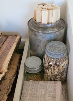Mimi's Vintage Charm: the firewood box... vintage tin and jars for kindling