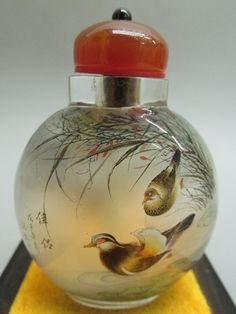 Chinese Inside-drawing Hand Painted Mandarin duck Pattern Glass Snuff Bottle - A