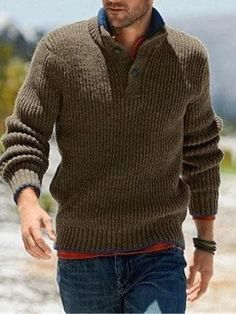 JXG Men Knitted Pullover Half-Zip Stand Collar Long Sleeve Sweater