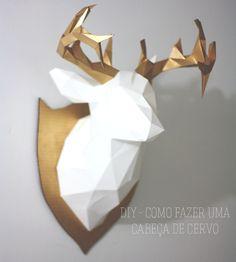 Tutorial de como fazer uma cabeça de cervo utilizando apenas papel e cola.