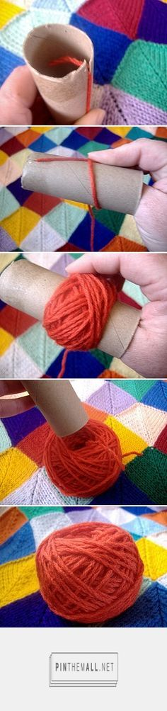 #Tutorial for making center pull balls of yarn using a toilet paper or paper towel roll. More details at the site. Easy and so useful to know! Enjoy from #KnittingGuru ** http://www.pinterest.com/KnittingGuru