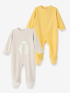 Lote de 2 pijamas de terciopelo bebé AMARILLO + BEIGE