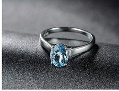 1.20ctw Oval Aquamarine Engagement ringSolitaire by popRing