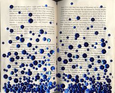 DIY: altered book art.  Instructions: Gather sequins and mod podge or paste. Make a line of glue on the bottom part of the pages, tightly packing sequins next to each other, filling most spaces. Make more lines above the previous ones, gradually increasing the space between the sequins, scattering a few here and there for an ombré effect.