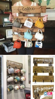 Top 23 Cool DIY Kitchen Pallet Ideas That You Pallet DIY Projects - diy pallet creations Pallet coffee cups organizer. Top 23 Cool DIY Kitchen Pallet Ideas That You Pallet DIY Projects Diy Kitchen Projects, Diy Kitchen Decor, Diy Pallet Projects, Pallet Ideas, Kitchen Storage, Kitchen Display, Pallet Bar, Wood Projects, Kitchen Hacks