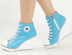 aea0580ae6b1b3 I found  Super cute light blue white and red high heels converse sneakers  style womens fashion  on Wish