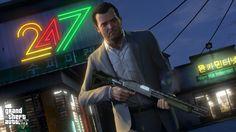 Michael wields a shotgun outside a 24/7 convenience store.