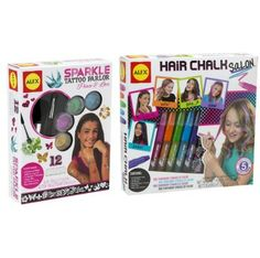 Hair Chalk and Sparkle Tattoo $29.99 With Sparkle Tattoo Parlor, use the included stencils to draw on glittery hearts, butterflies, flowers and more! Combine colors of glitter to create your own unique look.   Comb in vibrant color to your hair and create dozens of fabulous new hairstyles with Hair Chalk Salon. Choose one or more of the bright hair chalk pens, then accessories with included beads. Washes out easily with shampoo.