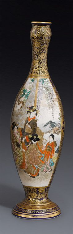 A Satsuma vase by Hozan Meiji period  of slender ovoid form, decorated in polychrome enamels and gilding with a garden scene of beauties and attendants, and a landscape panel of warriors, reserved on a gilt decorated blue ground, signed Hozan 24 cm high
