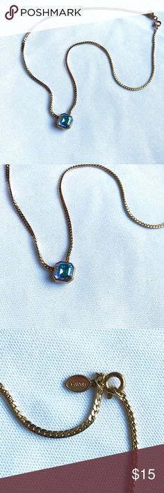 Avon Aurora Borealis Chunky Gold Chain Necklace Stunning aurora borealis necklace. This chain is so simple, yet includes intricate detail. Beautiful thick gold chain falling towards a delicate square containing a multi colored AB stone. Offers welcomed. Avon Jewelry Necklaces