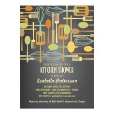Bridal Shower Chalkboard Invitations Chalkboard Retro Stock the Kitchen Bridal Shower Card