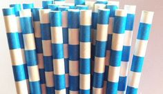 25 Dodger Blue Sailor Striped Paper Straws by JazzyAppleGal, $4.25