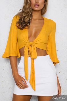 Tie Front Flared Sleeves Crop Top in Yellow