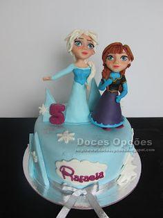 Doces Opções: Bolo com as princesas Frozen