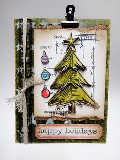 CHA Make and Take - 1 of the holiday card projects using lots of new distress, idea-ology, and the stamp/die combo set from sizzix and stampers anonymous…