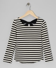 Take a look at this Monteau Girl Black & Ivy Stripe Bow Top on zulily today!