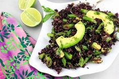 Black Rice Salad with Asparagus and Avocado | A Red Binder