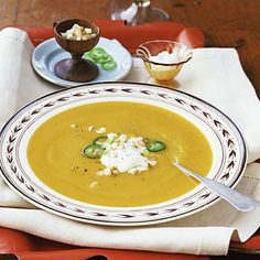 This recipes uses the best of fall produce: Butternut Squash and Apple Soup | Health.com