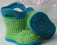 Baby-Häkelarbeit-Muster-Baby für Baby Goshalosh Boots - 4 Größen - Neugeborene bis 12 Monate.  digital