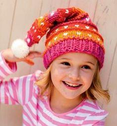Mütze Kinder Stricken Zipfelmütze bunt Mädchen
