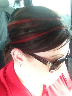 Bright red peek-a-boos. Real remy hair extensions that I made and bleached and recoloured to avoid bleaching my hair