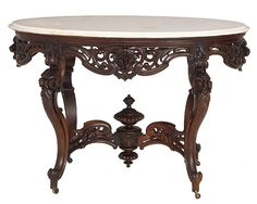 Rococo Rosewood Victorian Center Table Attributed To J. & J. Meeks With Original Oval White Marble Top - c. 1850